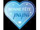 """Étiquette """"Bonne fête papa"""" cœur bleu"""