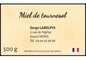 Étiquette miel de tournesol fond clair à personnaliser