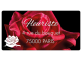 Étiquette fleuriste avec rose et adresse