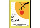 étiquette jus de pommes avec branche