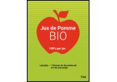 étiquette jus de pomme bio rouge vert