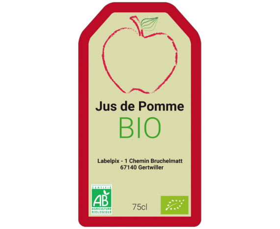 étiquette autocollante jus pomme rouge bio