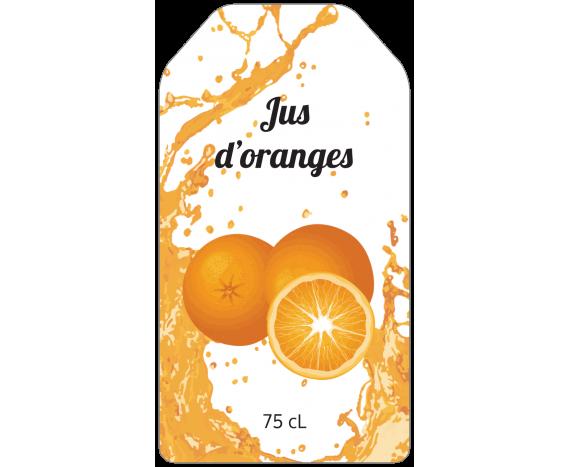 Étiquette de jus d'oranges avec éclaboussures