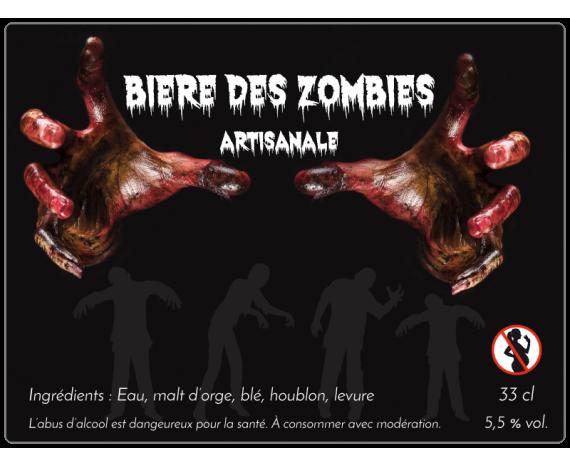 Bière des zombies - autocollant à personnaliser