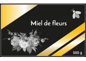 Étiquette miel de fleurs noire et or à personnaliser