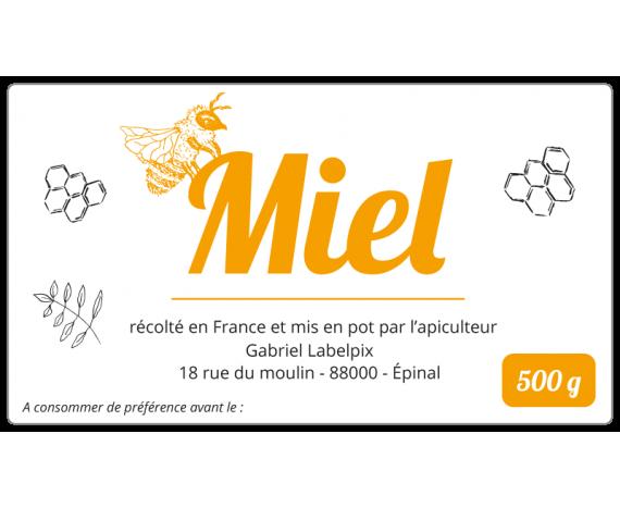 Autocollant miel à personnaliser 500 g