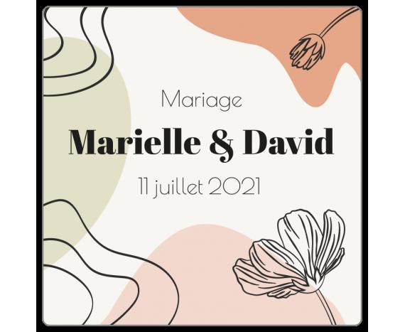 Étiquette mariage forme carrée à personnaliser