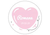 "Sticker circulaire baptême "" Romane"""