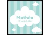 """Étiquette carrée baptême """"Mathéo"""""""