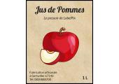 Étiquette jus de pommes 1L style ancien