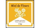 Autocollant carré à personnaliser - Miel de Fleurs 1 kg design