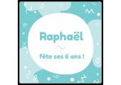 Étiquette carrée anniversaire Raphaël à personnaliser