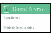 """Étiquette à compléter """"Bocal à vrac"""" vert"""