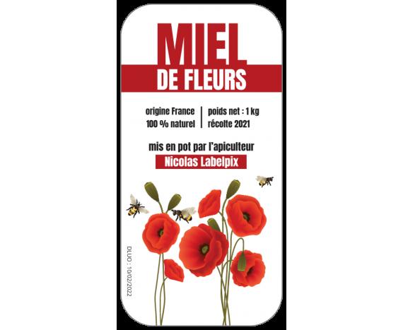 Étiquette adhésive Miel de Fleurs 1kg