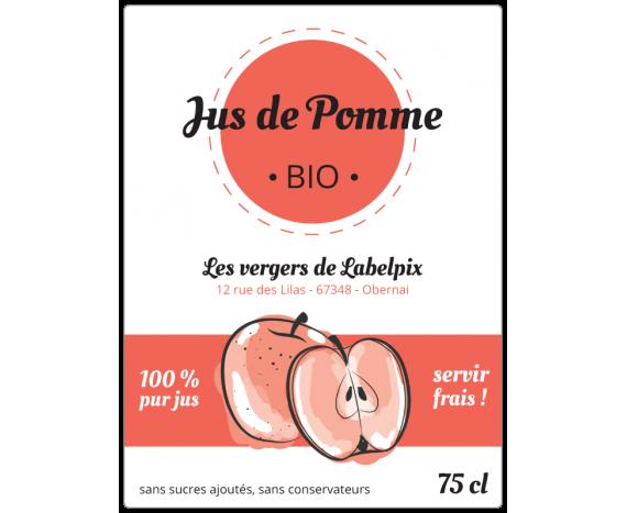 Autocollant à personnaliser - Jus de Pomme Bio 75 cl