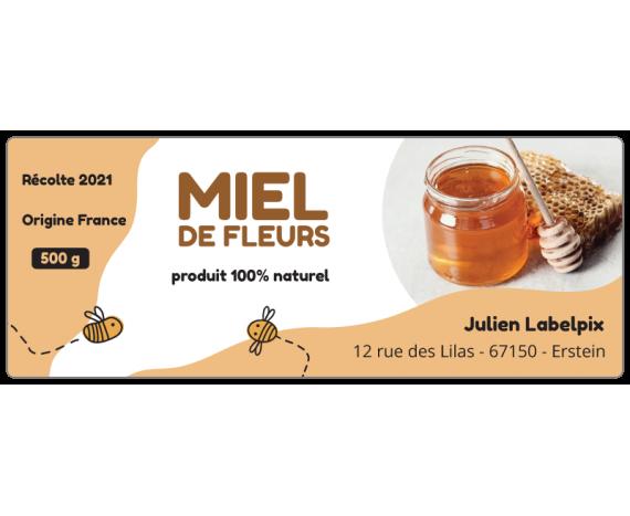 Autocollant Miel de Fleurs 500g à personnaliser