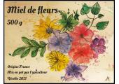 Miel de fleurs 500 g effet aquarelle à personnaliser