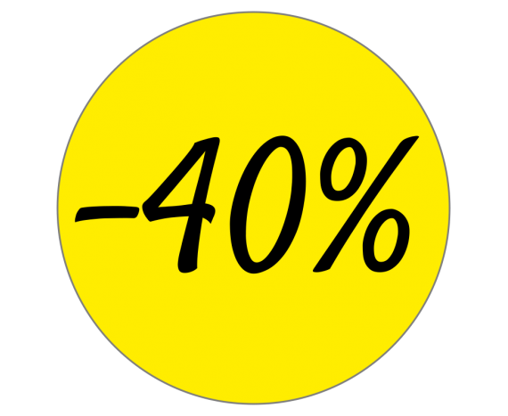 Étiquettes promotions remise -40%