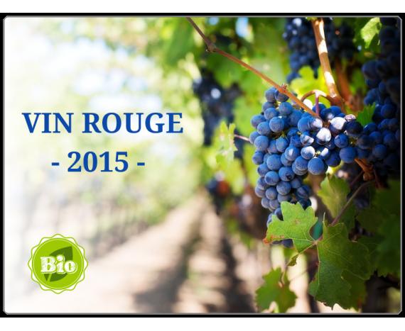 étiquette vin rouge bio colorée avec vignes