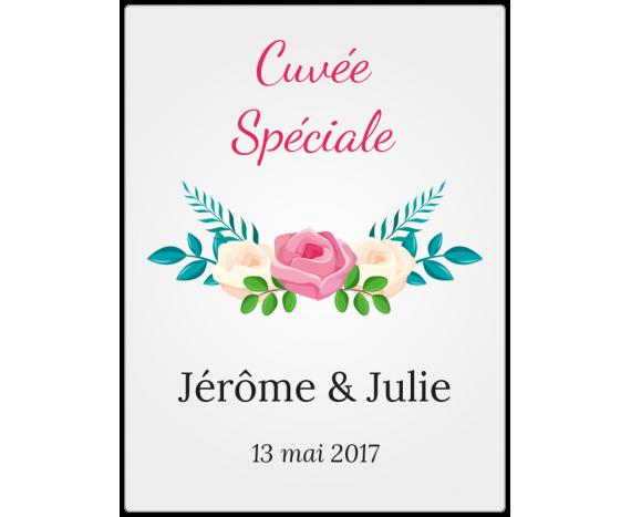 étiquette mariage personnalisée fleurs