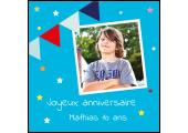 étiquette anniversaire bleu avec photo enfant