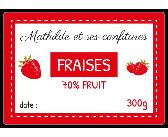 étiquette confiture fraises rouge et blanc