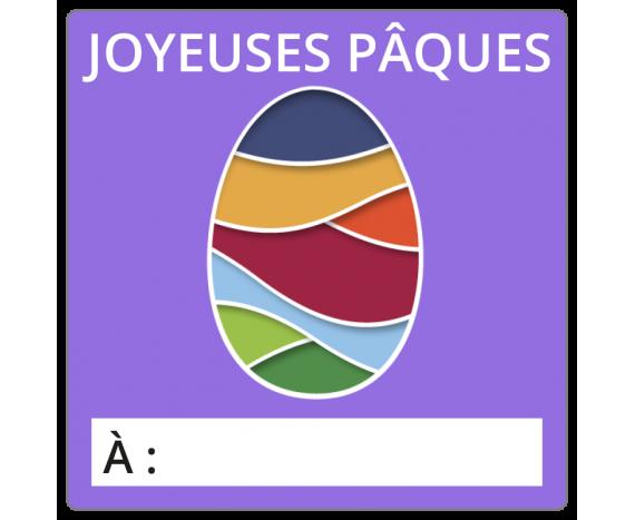 Étiquettes Joyeuses Pâques - Gros oeuf coloré