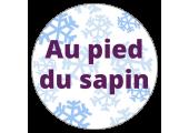 """Étiquettes Noël """"Au pied du sapin"""" et flocons"""