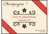 Autocollant personnalisé mariage pour bouteille de champagne