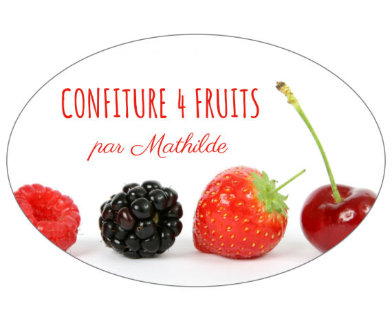 Étiquette confiture 4 fruits personnalisable
