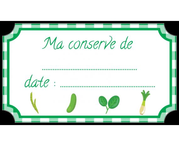 étiquette conserve légumes vert standard