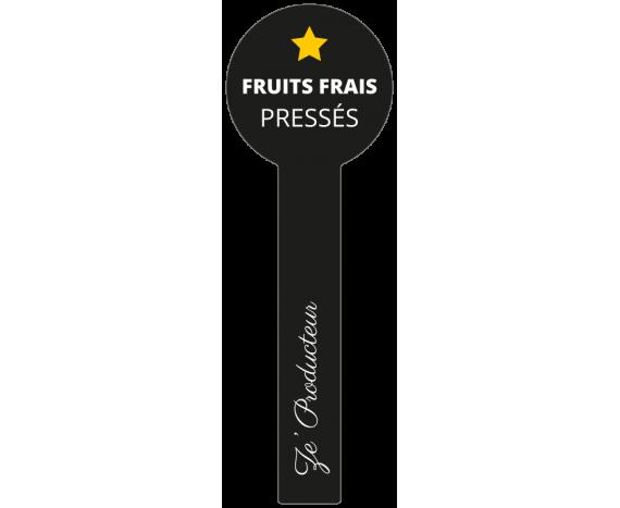 étiquette noire scellée jus de fruits