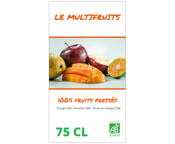 étiquette jus multi-fruits