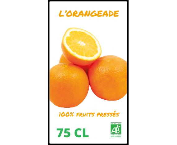 étiquette jus de fruits pressés orangeade