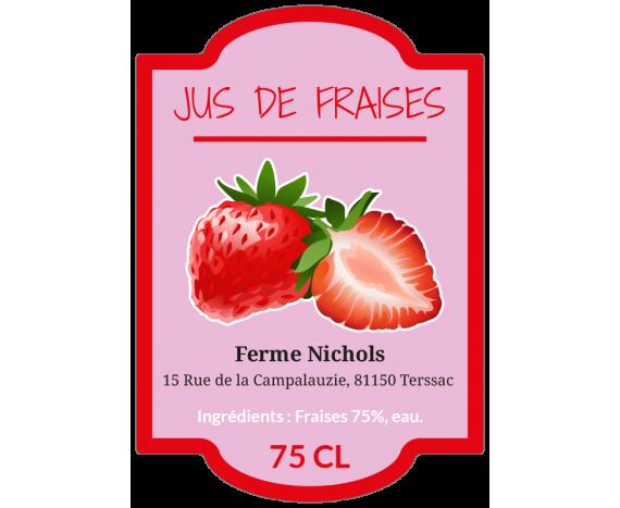 étiquette jus de fruits fraise