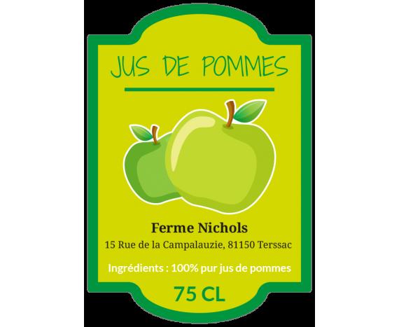étiquette jus de pommes