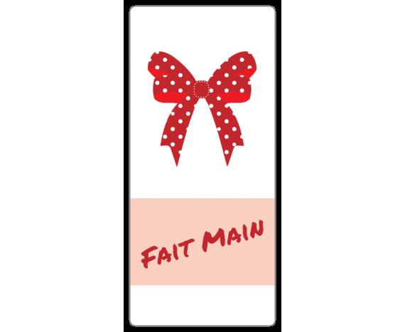 """Étiquettes """"Fait main"""" avec Noeud Rouge"""