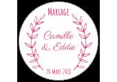 étiquette autocollante ronde dragées mariage