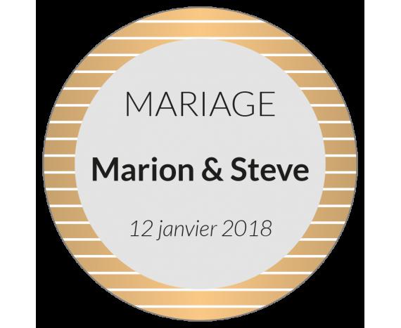 étiquette adhésive ronde dragées mariage