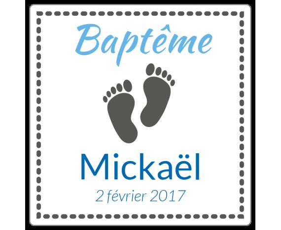 étiquettes dragées baptême garçon
