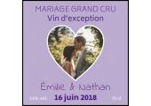 étiquette mariage photo en coeur