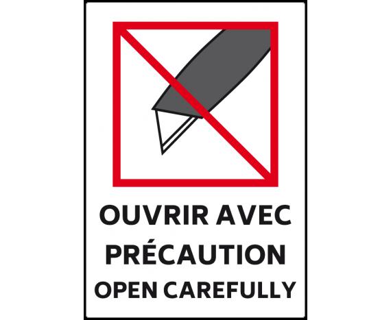 étiquette colis ouvrir avec précaution