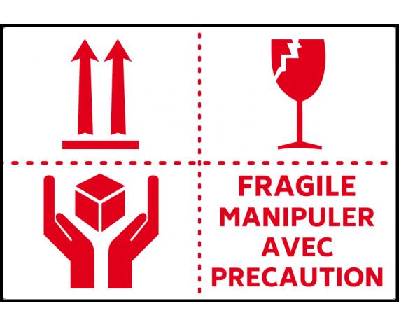étiquette colis manipuler avec précaution