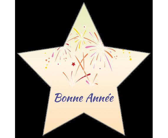 Étiquettes Bonne Année en forme d'étoile