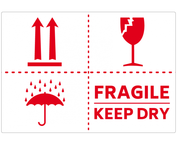 étiquette logistique FRAGILE/KEEP DRY