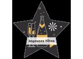 Étiquettes Joyeuses Fêtes - Champagne et Feu d'artifice