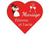 étiquettes dragées mariage coeur rouge