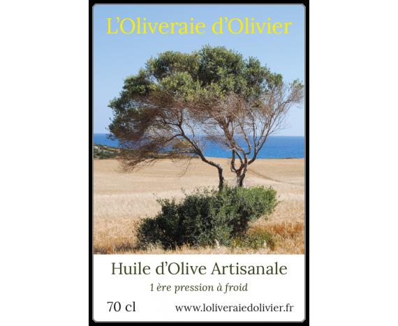 étiquette adhésive bouteille huile d'olive