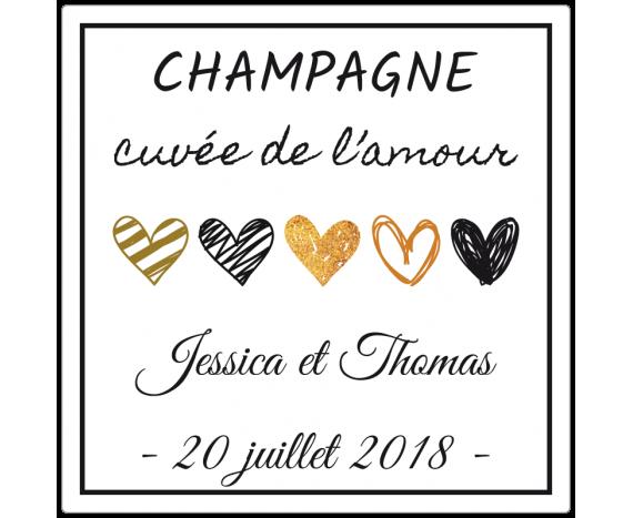 étiquettes adhésives champagne mariage