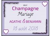 Étiquette autocollante Champagne brut mariage